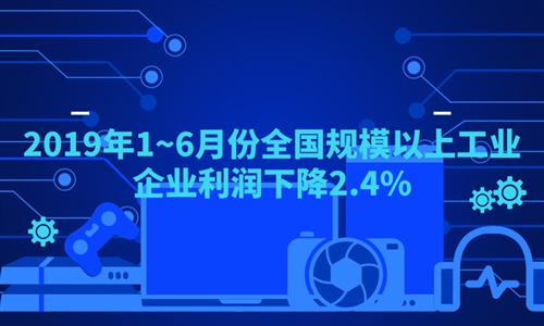 2019年1~6月份全国规模以上工业企业利润下降2.4%